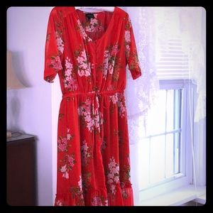 Vintage Who What Wear Red Floral High Low Dress M
